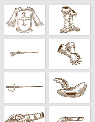 英国兵服装枪剑帽子大炮手绘素描插画矢量图