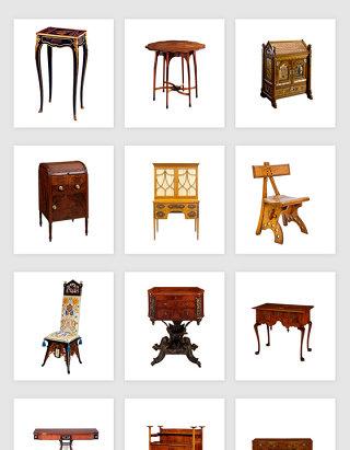 高清免抠古代老式木制家具