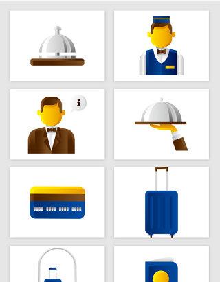 酒店服务员酒店服务卡通插画矢量图形