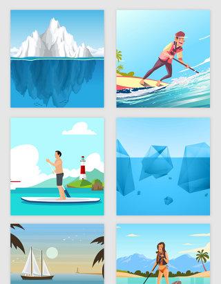 海洋冰山水上划船冲浪旅游矢量素材