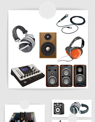 矢量高清音乐设备耳机音响