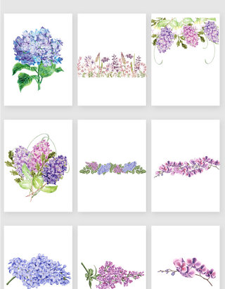 彩绘紫色清新花卉矢量素材