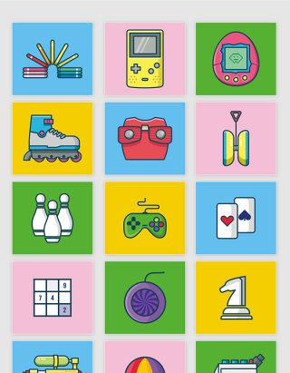 矢量卡通80后玩具游戏