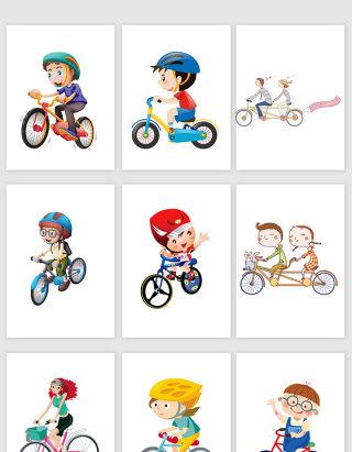 骑自行车手绘素材