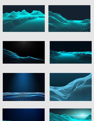 蓝色科技感抽象地面矢量元素