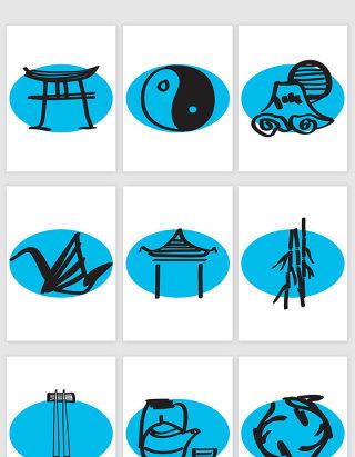 毛笔画中国建筑食物道挂图图标矢量图形