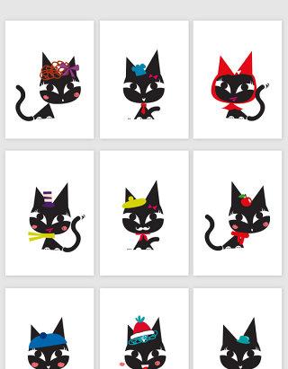 可爱猫咪矢量卡通图案