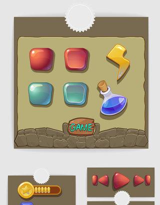 网游手绘游戏界面图标UI设计素材