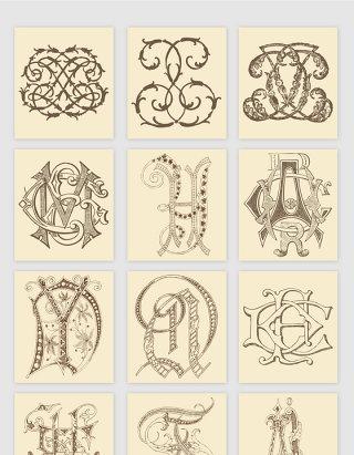 手绘欧式花纹纹理矢量素材