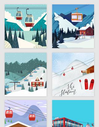 滑雪场主题矢量素材