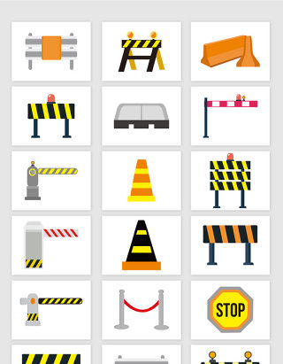 矢量城市交通安全路障护栏素材