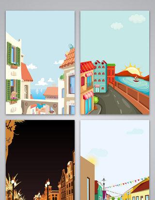 矢量卡通手绘透视城市风景背景