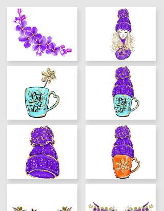 紫色帽子咖啡杯花朵