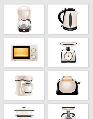烧水壶面包机蒸锅家庭电器卡通矢量图形