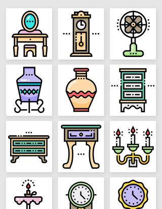 欧式复古家居家具装饰图标矢量素材2