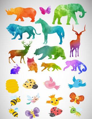 手绘卡通抽象动物素材