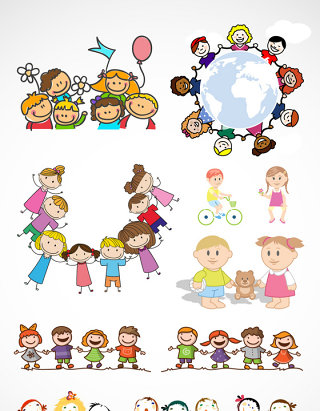 儿童节可爱儿童矢量素材