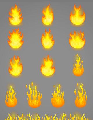 火元素矢量图标图形