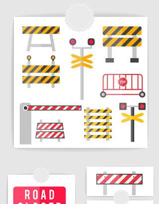 矢量城市交通安全路障护栏