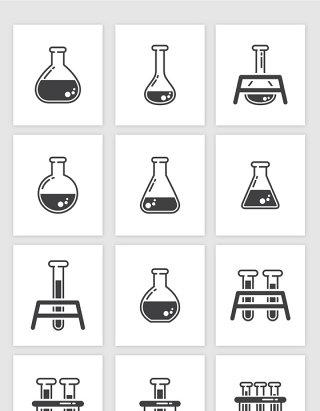 矢量卡通科学实验量瓶