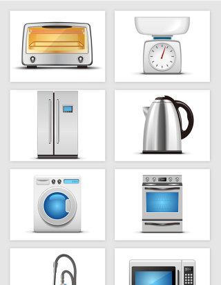电烤箱称电冰箱热水壶洗衣机吸尘器家电矢量