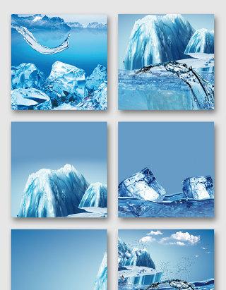 寒冷冰雪冰山效果素材
