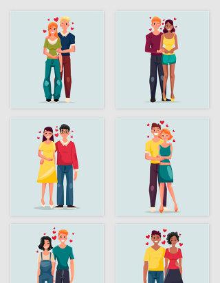 矢量手绘卡通情人节情侣