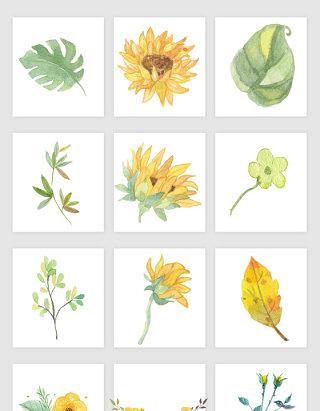 向日葵花朵矢量素材