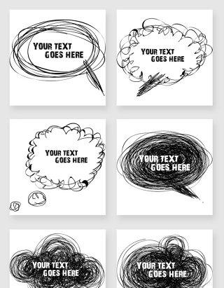 涂鸦风格黑白对话框