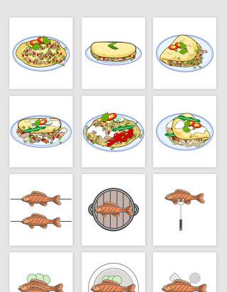 蛋包面蛋包火腿烤鱼美食矢量图形
