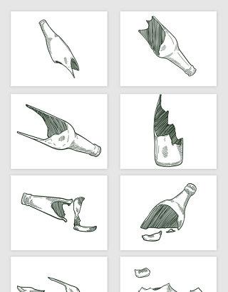 矢量手绘素描破碎的玻璃瓶