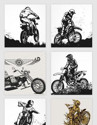 手绘摩托赛车矢量素材