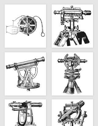 手绘精密测量工具的矢量素材
