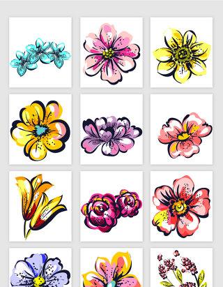 手绘花卉插画矢量元素