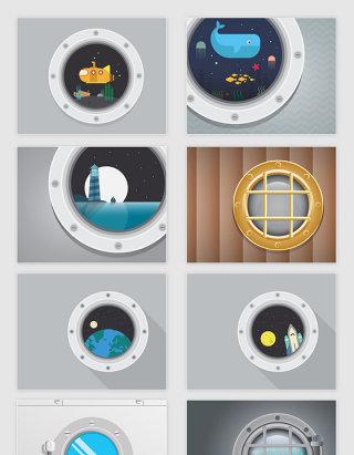矢量卡通潜水艇船舱宇宙飞船船窗插图