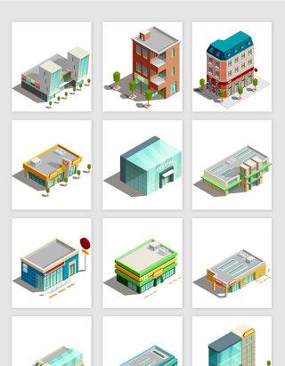 3D地标建筑模型房矢量元素