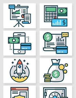 办公金融商务图标矢量素材