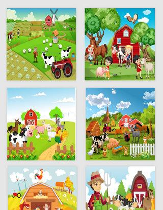 海报素材手绘插画农田风格牛鸡羊动漫