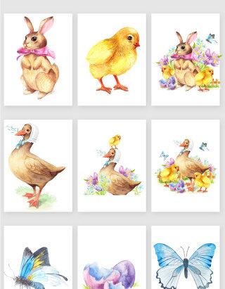 手绘彩色家禽与蝴蝶矢量素材