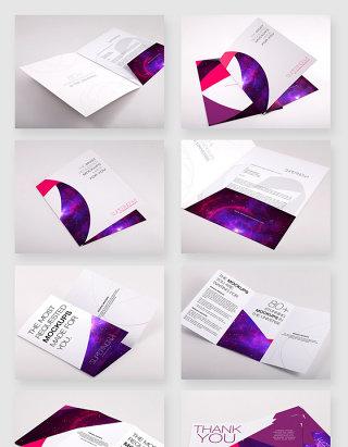 品牌文化宣传三折页设计样机模板素材