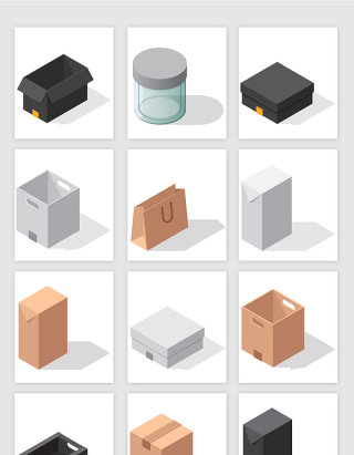 3D立体盒子适量元素