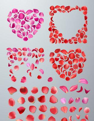心形玫瑰花瓣造型素材