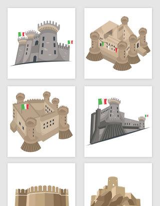 卡通意大利建筑矢量图形