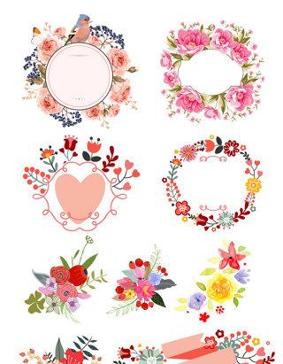 精美水彩手绘花朵矢量素材