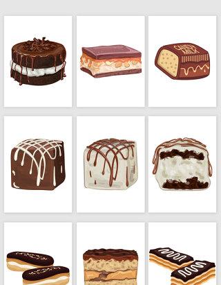 巧克力派卡通食物矢量图形
