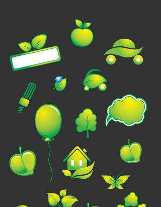 矢量绿色树叶图标素材