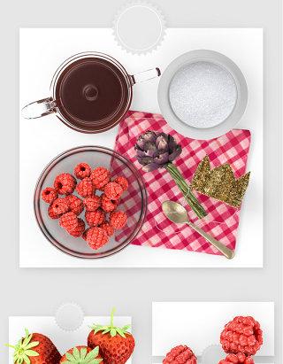 新鲜草莓水果下午茶psd贴图素材