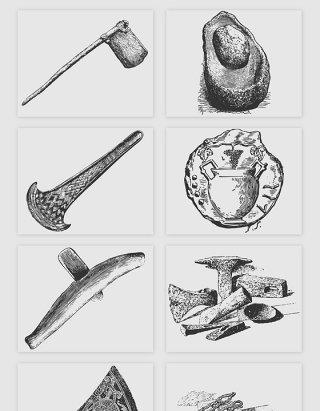 手绘原始人生活工具矢量素材
