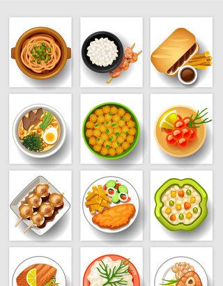 餐饮行业卡通手绘风格美食矢量元素
