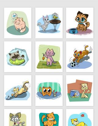 矢量手绘卡通可爱猫咪插画